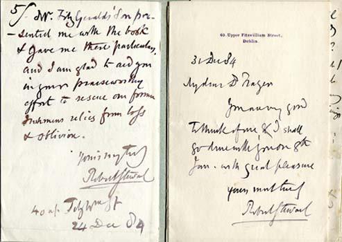 STEWART, Robert. Autograph letter signed from Robert Stewart to Dr. Frazer.