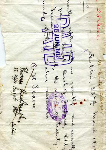 A manuscript promissory note signed by P.H. Pearse & Thomas MacDonaghto the Royal Bank of Ireland
