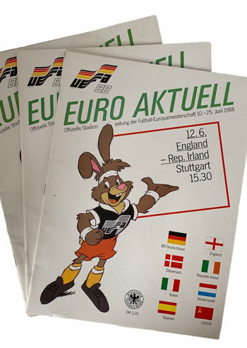 A complete set of Rep of Ireland programmes from Euro 88
