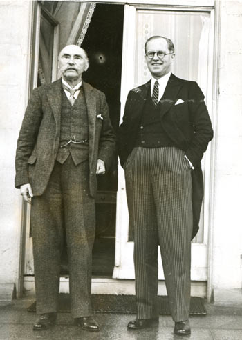 A fine press photograph of President Douglas Hyde and Joseph P. Kennedy, at the Vice-Regal Lodge in the Phoenix Park, 8th July, 1938.